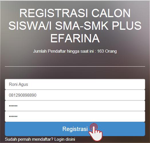 <font color='#c9c8cd'> 2. Form Registrasi Calon Siswa/i SMA/SMK Plus Kesehatan Efarina </font>