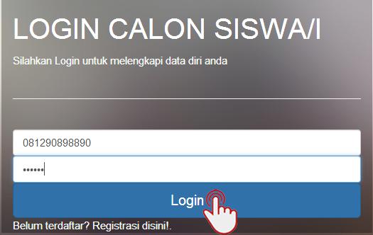 <font color='#c9c8cd'>11. Calon Siswa Bisa Login dan Mengisi <b> No HP </b> dan <b>Password </b> yang sudah diisi sebelumnya.</font>