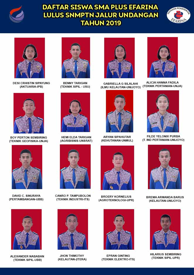Daftar Siswa SMA Plus efarina Lulus SNMPTN 2019